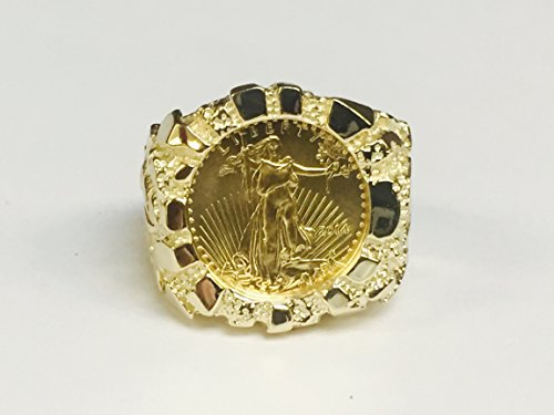 14K-Gold-MenS-21-Mm-Nugget-Coin-Ring-With-A-22-K-110-Oz-American-Eagle-Coin-Random-Year-Coin