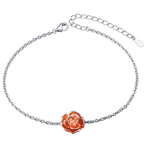 S925 Sterling Silver Choker Rose Flower Clavicle Short Pendant Necklace for Women Girl ()