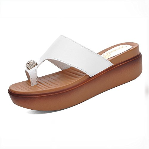 FEI Mules Clip Feet Dragging Shoes Female Summer New Korean Version Of Joker Toe Thick Soles Sandals Fashion Outer Wear Beach Cover Toe Drag Black White Sandals Casual White mwzLTZH5Db