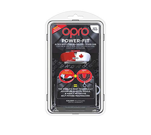 OPRO Power-Fit Mouthguard | Adult Handmade Gum Shield + Strap for Football, Lacrosse, Hockey and Other Contact Sports - 18 Month Dental Warranty (Ages 10+) (Canada) by OPRO (Image #1)