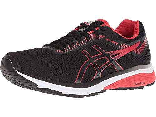 (ASICS New Men's GT-1000 7 Running Shoe Black/Red Alert 10)
