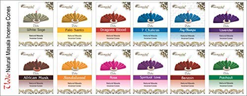 - Aromatika Vedic Natural Masala Incense Cones 12 assorted fragrances total 120 pcs fragrances Sandalwood, Rose, 7Chakra, White Sage, Palo santo, Patchouli, African Musk, Dragons blood, Lavendar,Benzoin