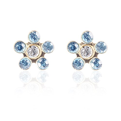 10k Yellow Gold Stud Earring Flower Shape with Colored Crystals Screw Backing, 5mm Diameter (Light Blue) 10k Yellow Gold Flower