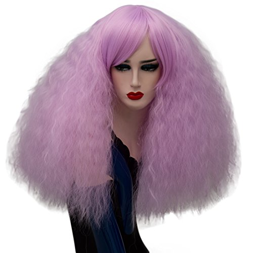 ELIM Short Fluffy Wigs Light Purple Cosplay Wig Curly Wavy Synthetic Hair Halloween Costume Wigs Oblique Bangs for Women with Wig Cap Z079L -