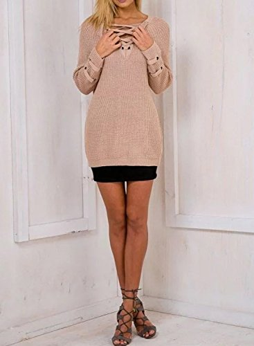 Futurino Women's Lace Up V-Neck Long Sleeve Knit Pullover Sweater Dress Top Photo #2