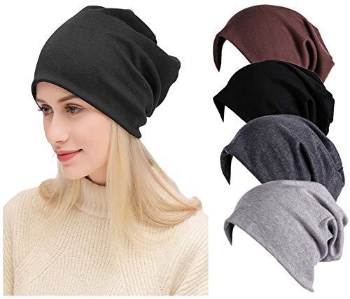 Toptim Women Men Stylish Thin Hip-hop Soft Stretch Knit Slouchy Beanie Hat Skull Cap 4-Pack