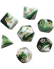 Polyhedral 7-DND Dice Set, Gem Green Dice Sets For RPG MTG Table Games Dice, D4 D6 D8 D102 D12 D20 of Emerald Dice