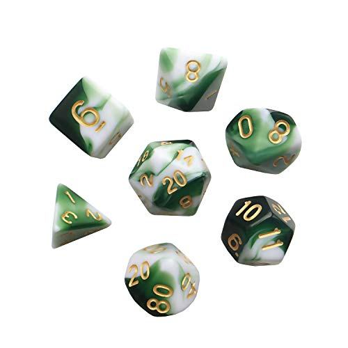 Polyhedral 7-DND Dice Set, Gem Green Dice Sets For RPG MTG Table Games Dice, D4 D6 D8 D102 D12 D20 of Emerald Dice ()