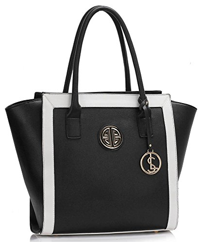 LeahWard® Damen Schulter Handtasche Damen Mode Qualität Tragetasche mit Metal Zubehör Essener Berühmtheit Qualität Kunstleder Taschen CWS00417 (CWS00417 Schwarz/Weiß)