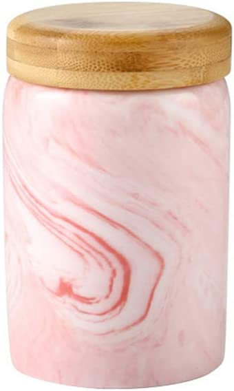 Marble pink Food Storage Canister, Ceramic Food Storage Jar with Airtight Seal Bamboo Lid - - Modern Design marble Ceramic Food Storage Canister for Serving Tea, Coffee, Spice and More 13.5OZ(400ML)