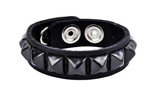 (Black Pyramid Stud Quality Leather Wristband Bracelet)