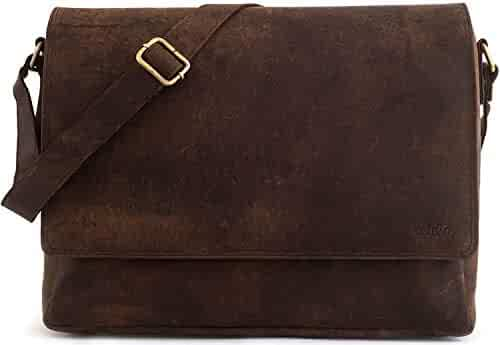 LEABAGS Oxford - Messenger Bag Briefcase Laptop Bag 13 Inch Genuine Leather