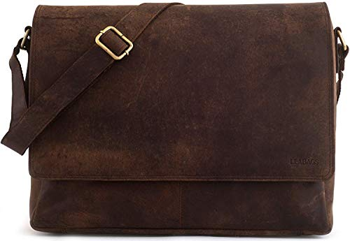 LEABAGS Oxford - Messenger Bag Briefcase Laptop Bag 13 Inch Genuine Leather - Muskat ()