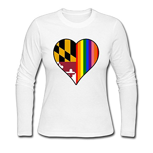 Women's Long Sleeve Tshirt, Maryland State Flag Heart and Rainbow Under Shirt - Shopping Annapolis In Maryland