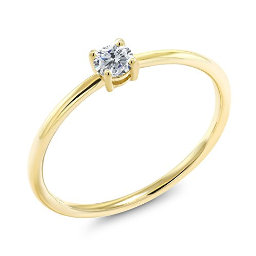 0.15 Ct Round G/H Diamond 10K Yellow Gold Solitaire Engagement Ring
