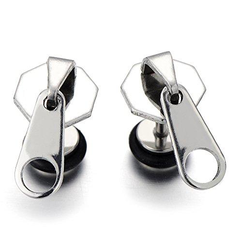 Funky Zipper Earrings Stainless Hipster