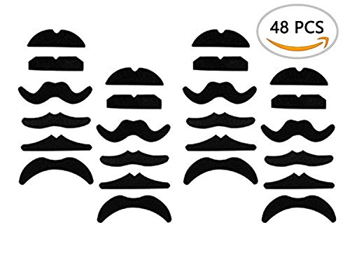 [A Little Lemon 48 pack Novelty Fake Mustache Mustaches Novelty & Toy - Fancy Dress Party Self Adhesive yellow By Allures &] (Fake Mustache Kit)