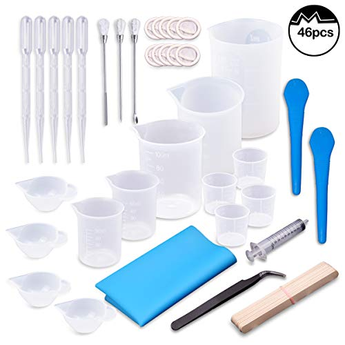 Moi Doi 46PCS Resin Mixing Cups Tools Kit, Graduated Plastic Silicone Measuring Cups, with Pipettes Mixing Stir Sticks Finger Cots Tweezer Silicone Mat for DIY Resin Casting Painting Jewelry Making