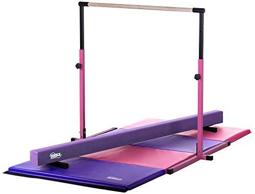 Little Gym - Adjustable Horizontal Bar - Purple Low Balance Beam - Pink/Purple Gymnastics Folding Mat (Nimble Sports Gymnastics Bar)