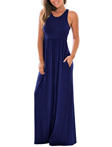 RAISEVERN Women's Casual Basic Elastic Empire Waist Stretch Jersey Comfy Maxi Beach Summer Dress Large Dark Blue