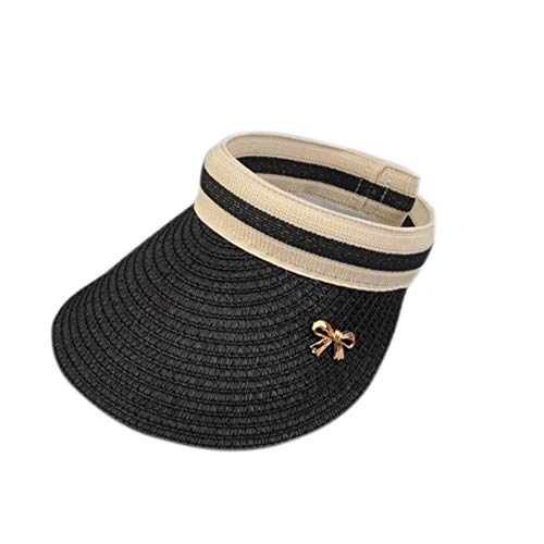 Summer Hats Women for Folding Sun Visor Empty Top Outdoor Sea Beach Hat Female Wide Brim Sun Hat Female Black