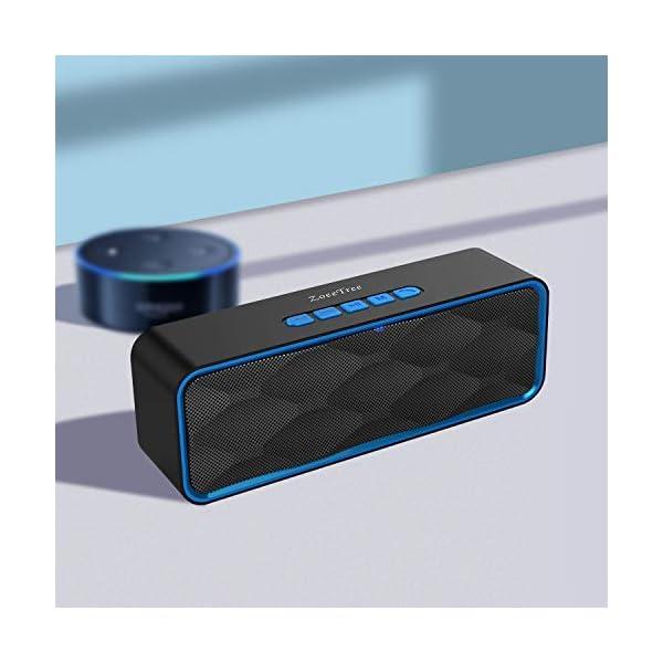 ZoeeTree S1 Haut-parleur Bluetooth sans fil, Extérieur, Enceinte stéréo avec Audio HD et Basses Amélioré, Intégré Double Pilote Haut-parleur, Bluetooth 4.2, Mains Libres Téléphone et TF - Blue 7