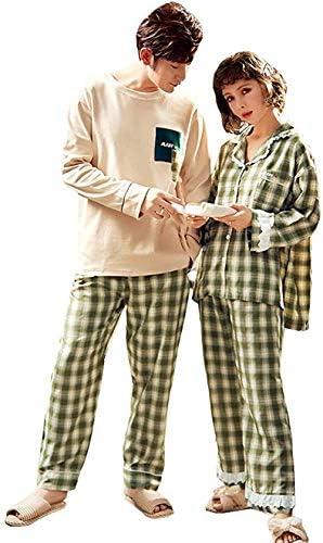 Patypeetyペアルック カップル2着セット チェック柄 パジャマ レディース 長袖 可愛い カップル ルームウェア 上下セット横縞 パジャマ 夏 春 秋 部屋着 韓国風 寝間着 お揃い ペアパジャマ メンズ パジャマ ギフト 部屋着 結婚祝い