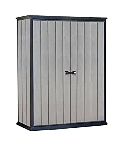 Keter High Store 4.5 x 2.5 Vertical Outdoor Resin Storage Shed, Grey