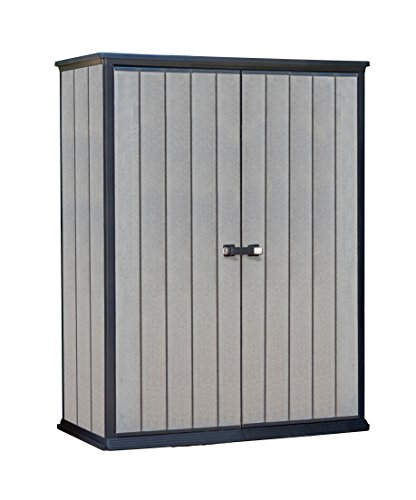 (Keter High Store 4.5 x 2.5 Vertical Outdoor Resin Storage Shed, Grey)
