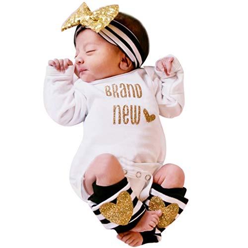 COOKI 3PCS Infant Toddler Newborn Baby Girl Clothes Bling Letter Romper Leg...