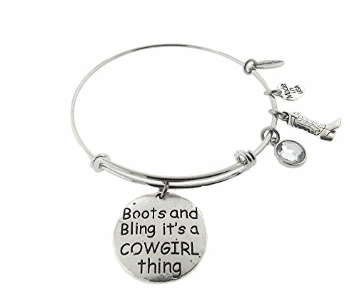 Boots and Bling It's a Cowgirl Thing Silver Tone Expandable Wire Bracelet by Envious Gems (Image #3)