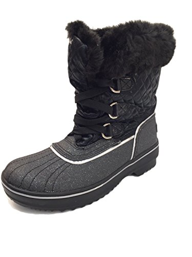 Baby Phat Women's Low Insulated Lace-up Winter Boots with Faux Fur Trim (8 (M) US, Black)