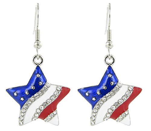 American Flag Patriotic Star Rhinestone Fish Hook Earrings - Clear Crystal with Red White and Blue Enamel