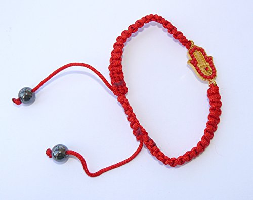 (Jewish Kabbalah Red String Golden Decorated Small Hamsa Bracelet Evil Eye Charm)