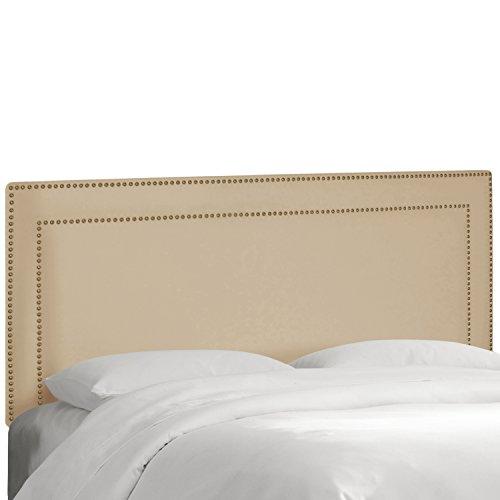 (Skyline Furniture Nail Button Premier Border Headboard, Oatmeal, King)