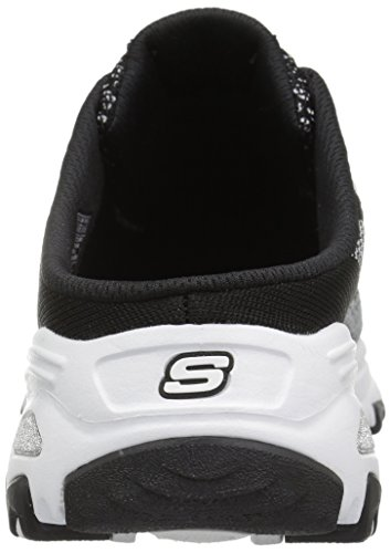 Skechers Sport Womens DLites Slip-On Mule Sneaker Black/White Knit