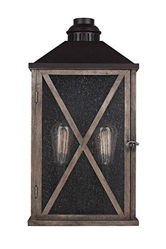 19' Outdoor Wall Lantern (Feiss OL17004DWO/ORB 2-Bulb Outdoor Lantern, Dark Weathered Oak/Oil Rubbed Bronze Finish)