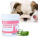 Kpljneg Tear Stain Remover Wipes,100 pc Soaked Cotton Pads,Dogs &Cats&Animal,Best Natural Eye Crust Treatment for White Fur (01)