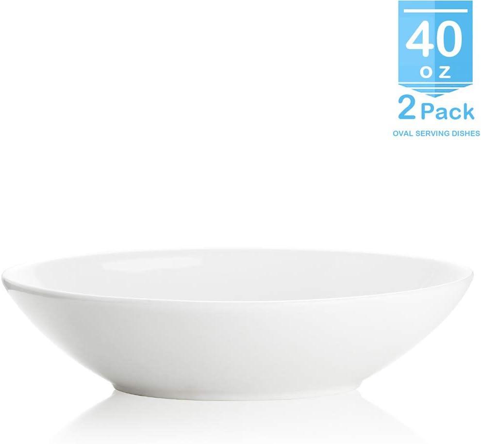 Zoneyila Porcelain Oval Serving Bowls - 40 Ounce for Fruit, Salad, Dessert - Set of 2, White