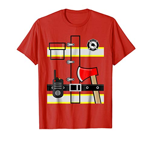 Mens Firefighter Fireman Uniform Men Women Kids Dress up TShirt Large Red
