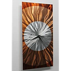 Rectangular Abstract Silver, Amber and Copper Wall Clock Sculpture - Functional Modern Contemporary Decor Art Accent - Dusk by Jon Allen - 24-inch