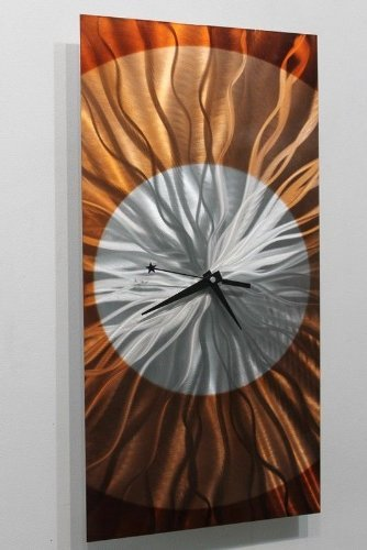 Rectangular Abstract Silver, Amber And Copper Wall Clock Sculpture    Functional Modern Contemporary Decor Art