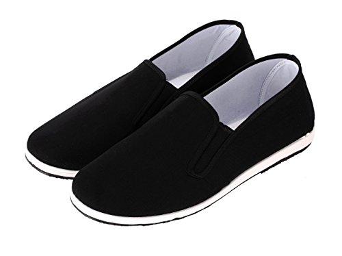 Aircee Men Chinese Traditional Old Beijing Shoes Kung Fu Tai Chi Rubber Sole Shoes Black