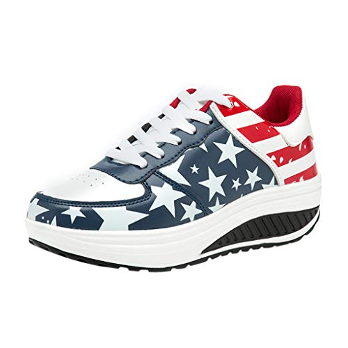 WILLBE Platform Sports Shoes American Flag Printed Sports Shoes Thick-Soled Fashion Casual Shoes Female Peas Shoes Dark Blue
