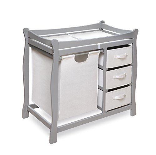 Badger Basket Sleigh Style Changing Table With Hamper/Baskets, Gray