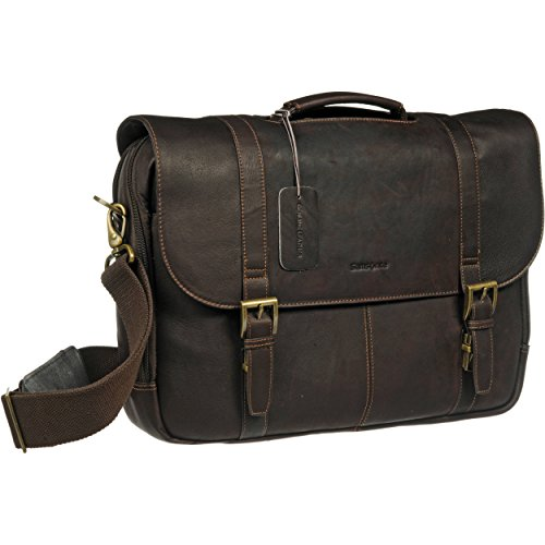 Samsonite Colombian Leather Flap-Over Laptop Messenger Bag (One Size, Brown)