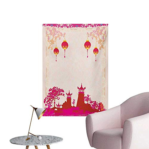 (Anzhutwelve Lantern Wallpaper Asian Landscape with Various Eastern Figures from Orient Japanese TowersHot Pink Multicolor W20 xL28 Art Poster)