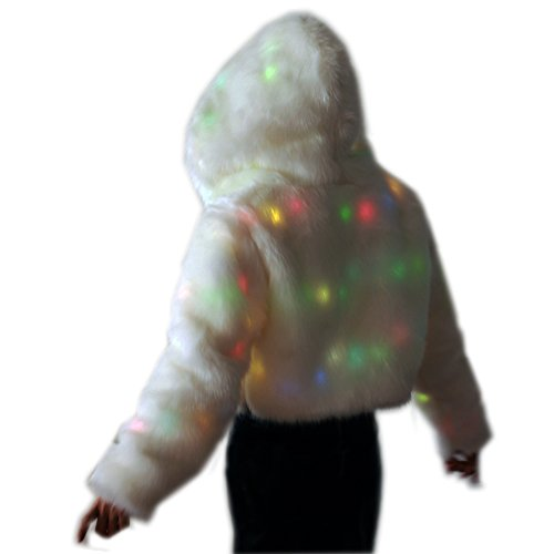 SAOMAI 7 Color Flashing LED Faux Womens Fur Coat Warm Hoodie Jacket Costume NigthWear Tops Dress upv For Party, Xmas, Halloween (M, Hooded) (Denim Jacket Halloween Costume)