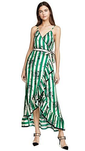 Morgan Lane Women's Sofia Dress, Evergreen, Green, Stripe, Floral, Small