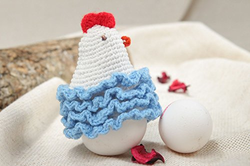 - Light Small Handmade Painted Egg Cover Easter Chicken Crocheted Of Wool And Cotton